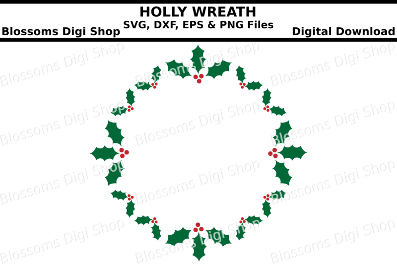 holly-wreath-svg-eps-dxf-and-png-cut-file
