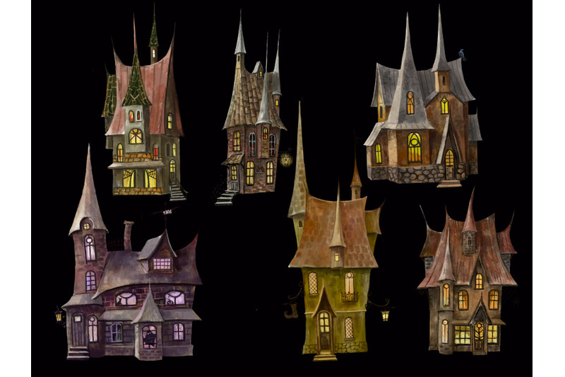 houses-watercolor-clipart-magic-moon-mystical-house