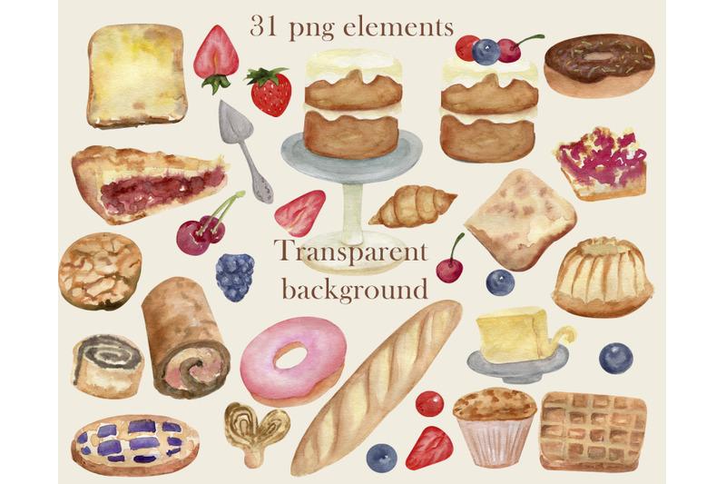 watercolor-bakery-dessert-clipart-food-clip-art