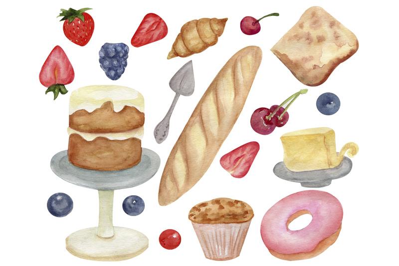watercolor-bakery-food-clipart-cupcake-png