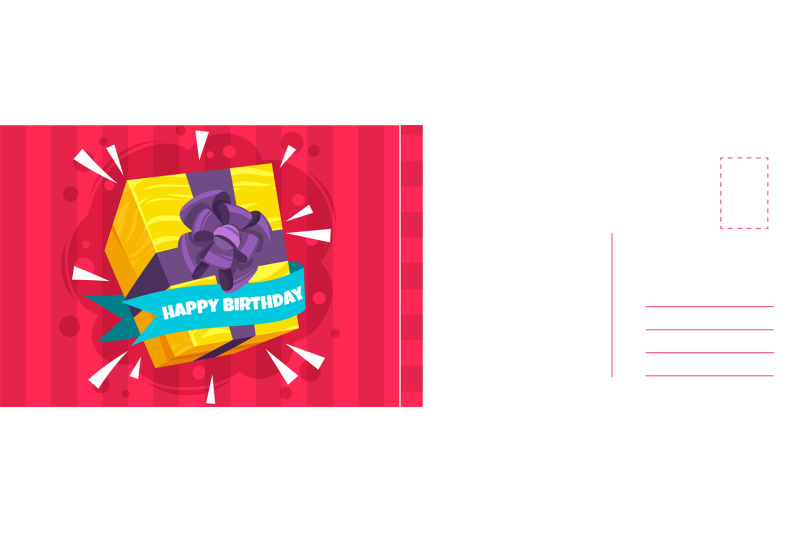 happy-birthday-holiday-postcard-and-bright-wrapped-gift-box-with-ribb