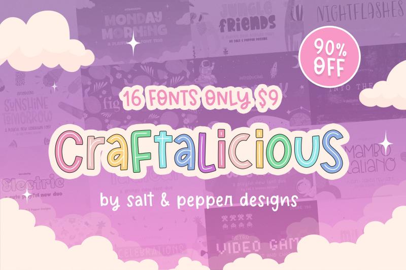 the-craftalicious-font-bundle-font-bundles-cheap-fonts-cute-fonts