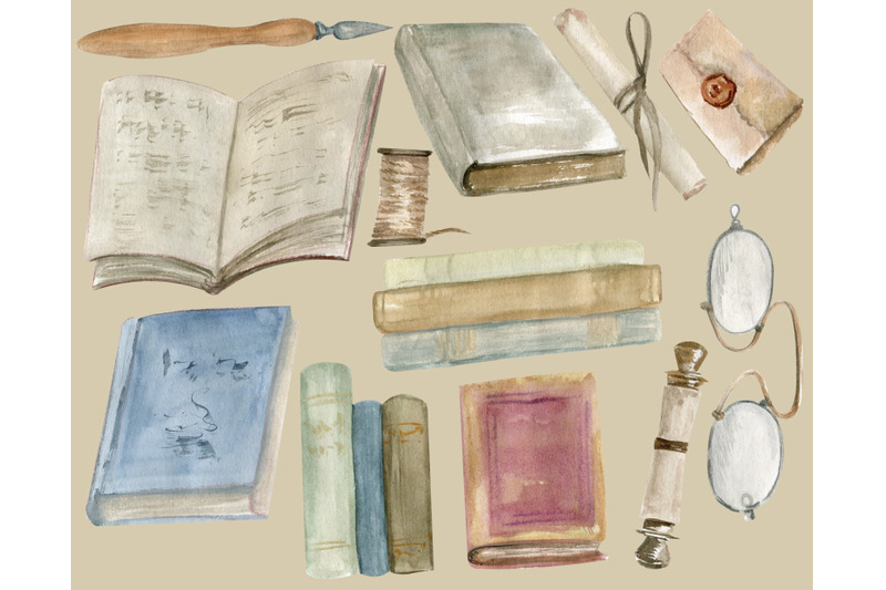 watercolor-vintage-book-clipart-books-png