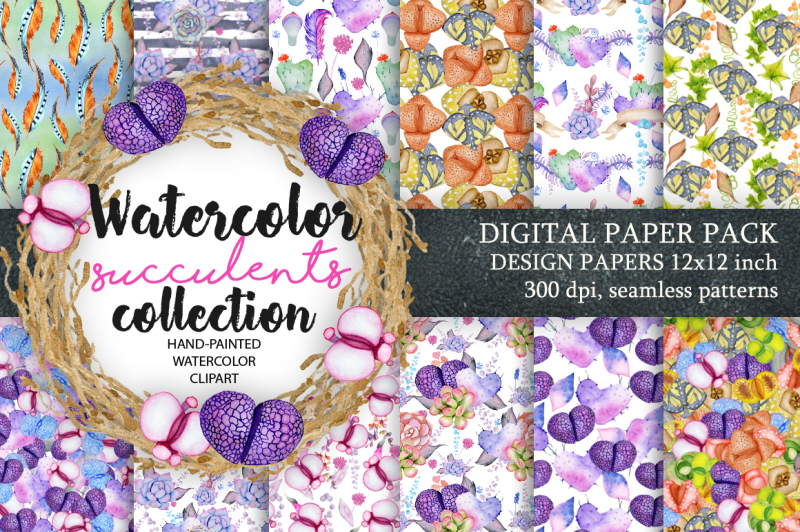 digital-paper-pack-waterclor-seamless-pattern-watercolor-backgrounds-floral-scrapbook-paper-wedding-floral-diy-pack-succulent-clip-art