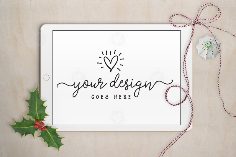 Free Christmas holly tablet mockup with PSD (PSD Mockups)