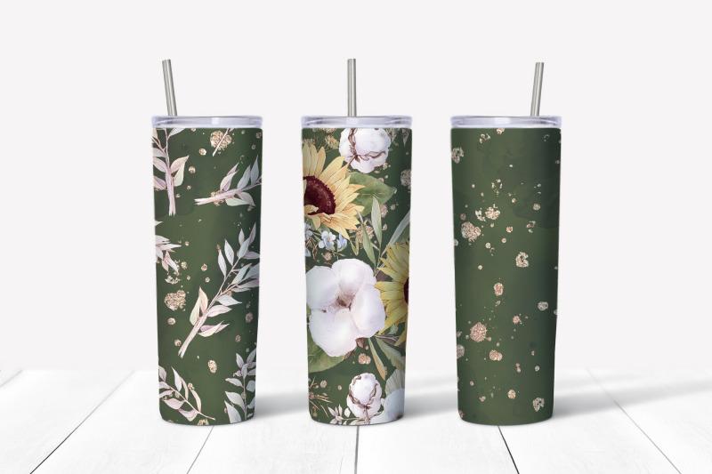 sunflowers-sublimation-design-skinny-tumbler-wrap-design