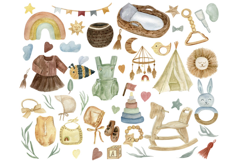 kids-watercolor-clipart-boho-boho-baby-shower-wood-baby-toys