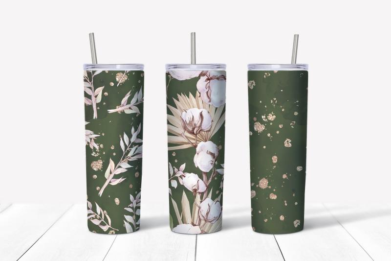 cotton-flowers-sublimation-design-skinny-tumbler-wrap-design