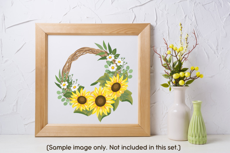 sunflower-wreath-builder-svg-elements-set-multi-layered-style-cliparts