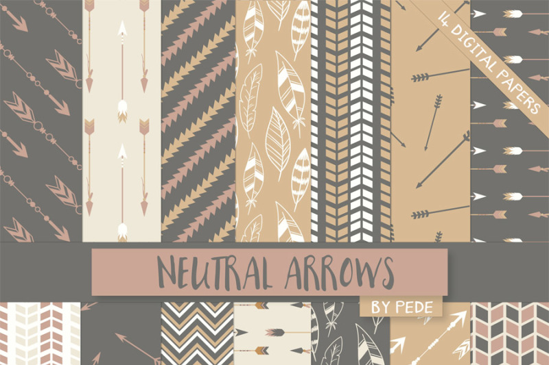 neutral-arrows-digital-paper-pack