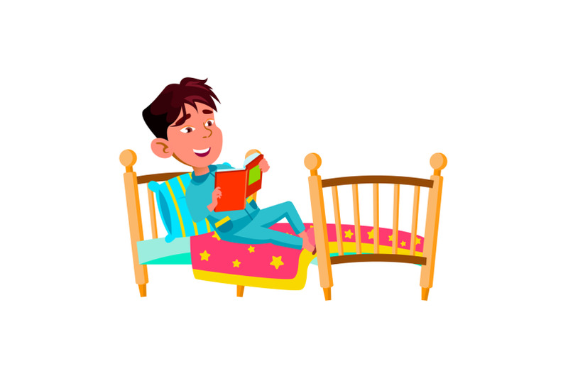 boy-child-laying-in-bed-and-reading-book-vector