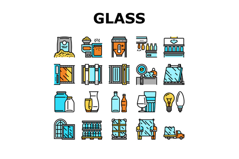 glass-production-plant-collection-icons-set-vector