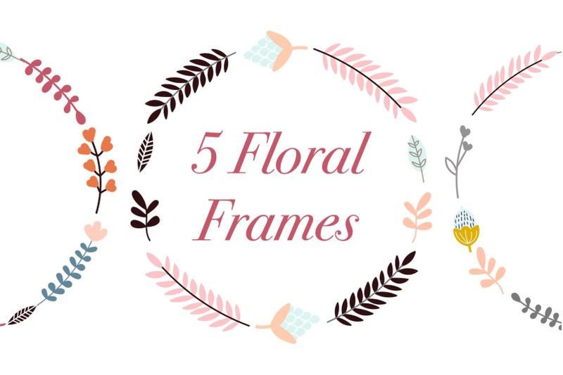 set-of-5-high-quality-digital-floral-frames