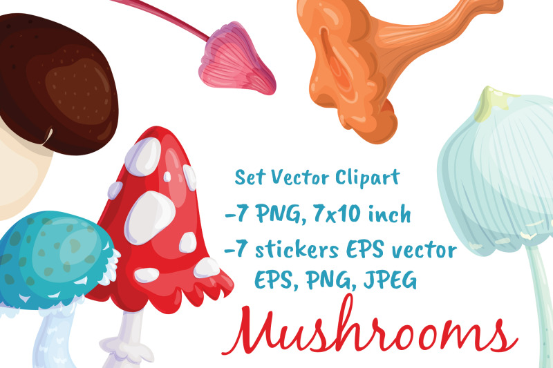 mushrooms-vector-stickers-clipart-forest-fall-art-woodland