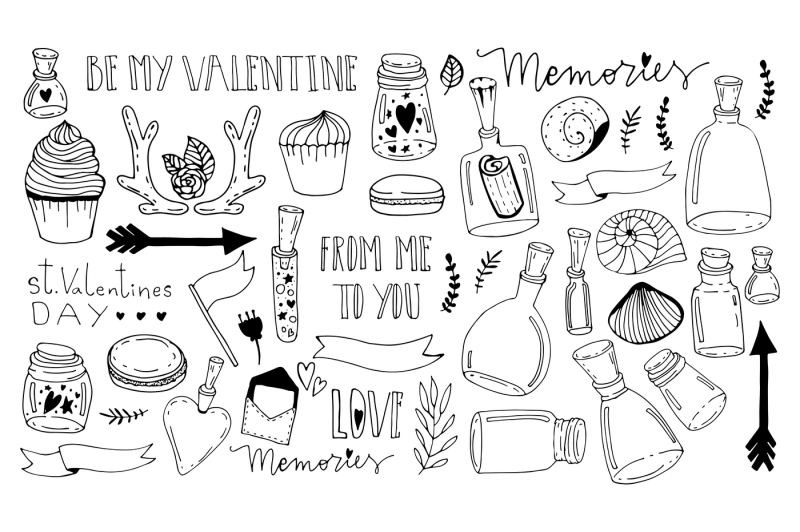 set-of-doodles-saint-valentine