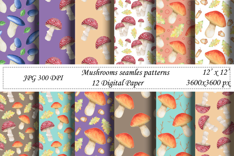 watercolor-mushrooms-seamless-pattern-wrapping-paper-fabric