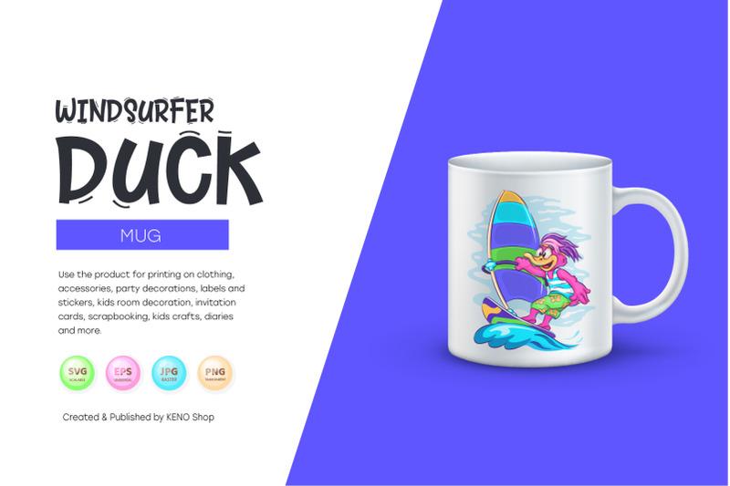cartoon-duck-windsurfer