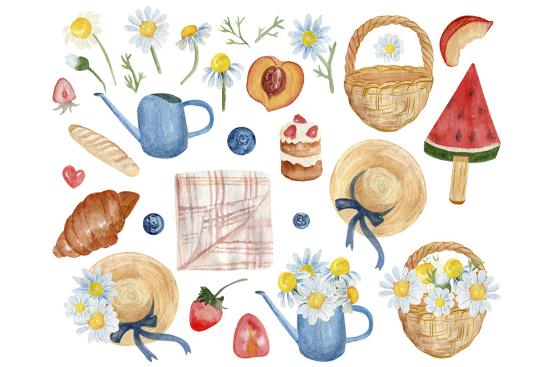 summer-picnic-clipart-food-clip-art-chamomile-flowers