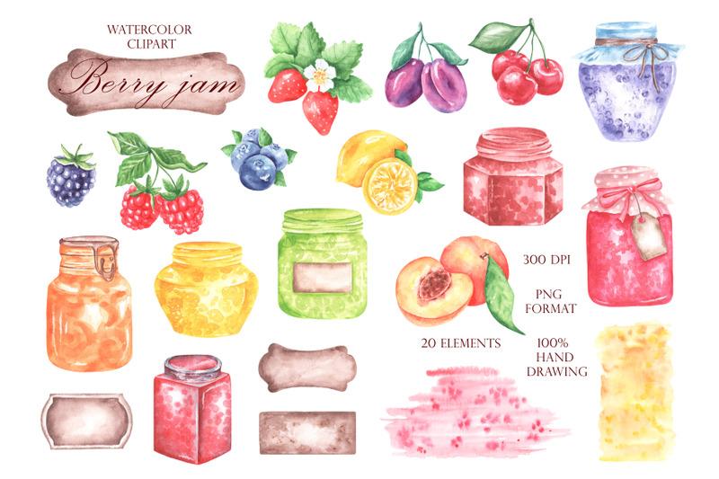 berry-jam-watercolor-clipart-jam-clipart-berries-clipart-fruit-jam