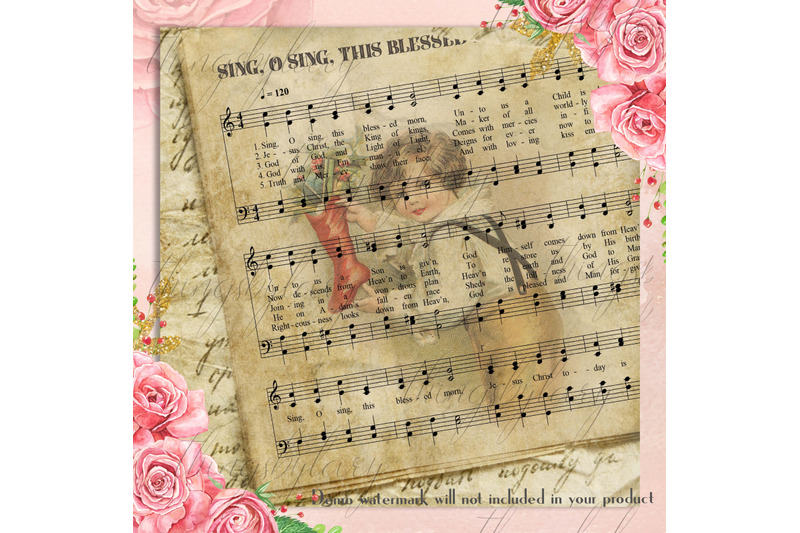 16-vintage-christmas-old-music-sheet-digital-papers-12x12-quot