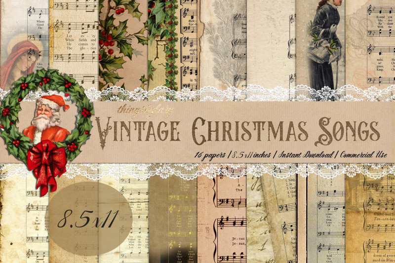 16-vintage-christmas-old-music-sheet-digital-papers-8-5x11-quot