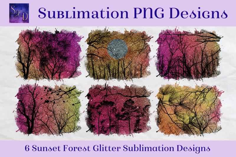 sublimation-png-designs-sunset-forest-glitter