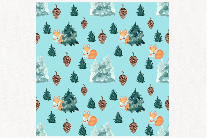 watercolor-seamless-pattern-pine-trees-and-fox-digital-paper