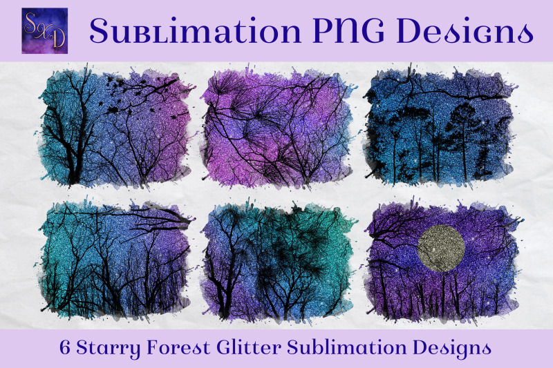 sublimation-png-designs-starry-forest-glitter