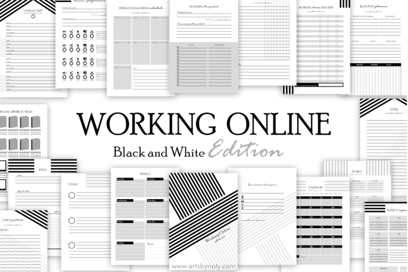working-online-printable-planner-black-and-white-edition