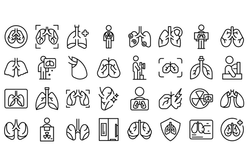 fluorography-icons-set-outline-vector-lung-health