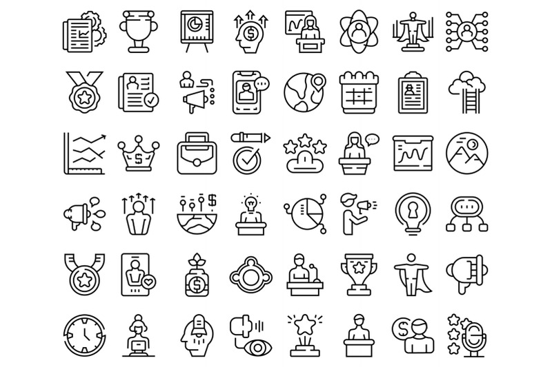 motivational-speaker-icons-set-outline-vector-human-discussion