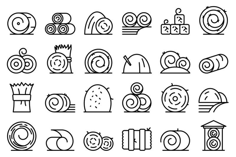 bale-of-hay-icons-set-outline-vector-agriculture-hay-bale