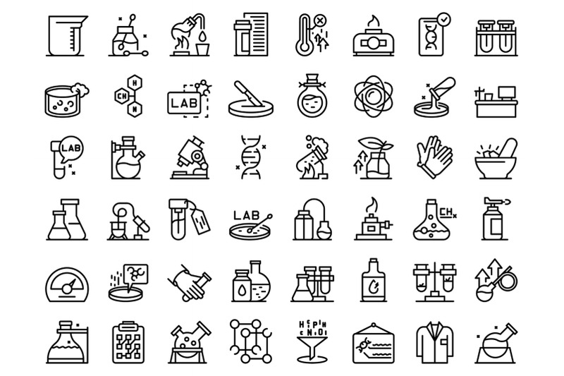 laboratory-research-icons-set-outline-vector-dna-science