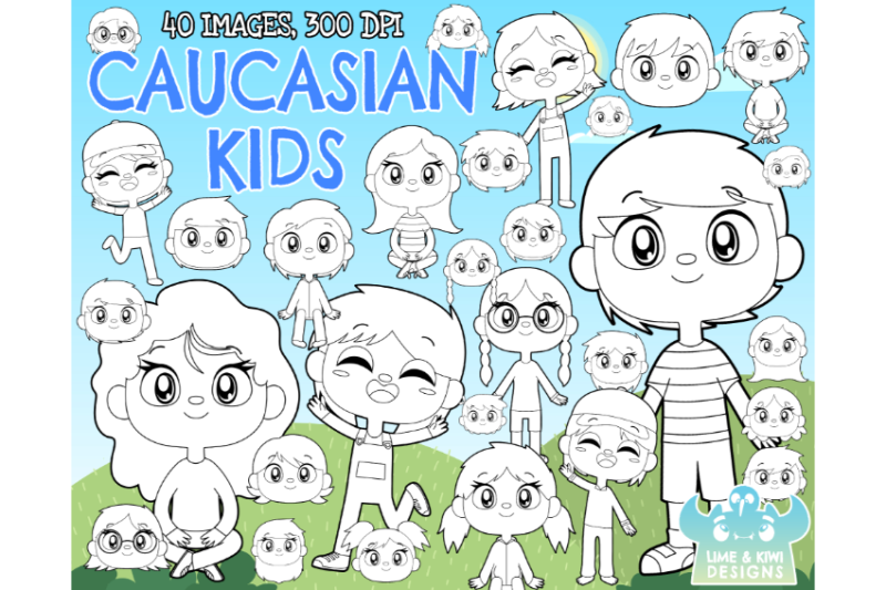 caucasian-kids-digital-stamps-lime-and-kiwi-designs