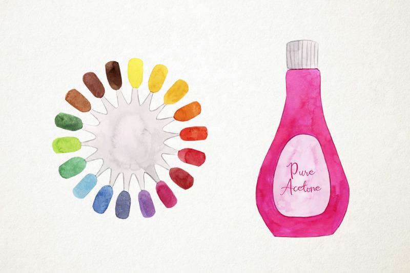 watercolor-manicure-clipart-nails-clipart-pedicure-clipart-manicure