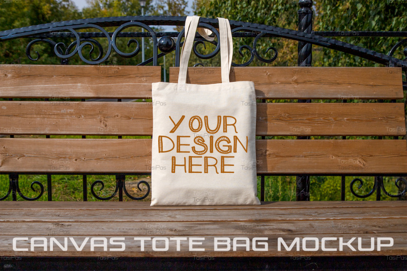 rustic-tote-bag-on-the-park-bench-mockup