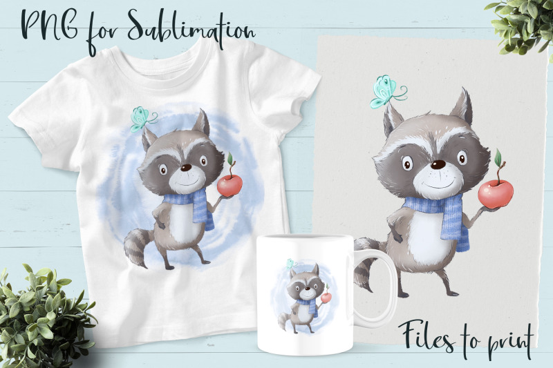 cute-raccoon-sublimation-design-for-printing