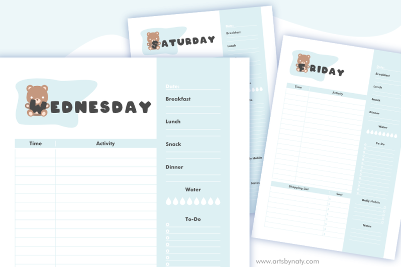 daily-planner-with-my-teddy-bear-kdp-interior