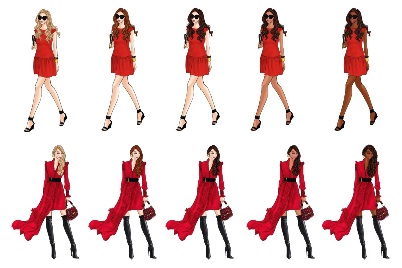 girls-in-red-3-fashion-clipart-set