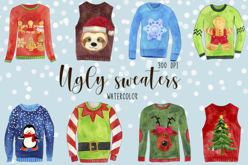 watercolor-christmas-sweaters-clipart-vhristmas-jumpers-clipart