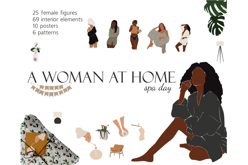girls-at-home-spa-day-vector-clipart-abstract-girls-african-americ