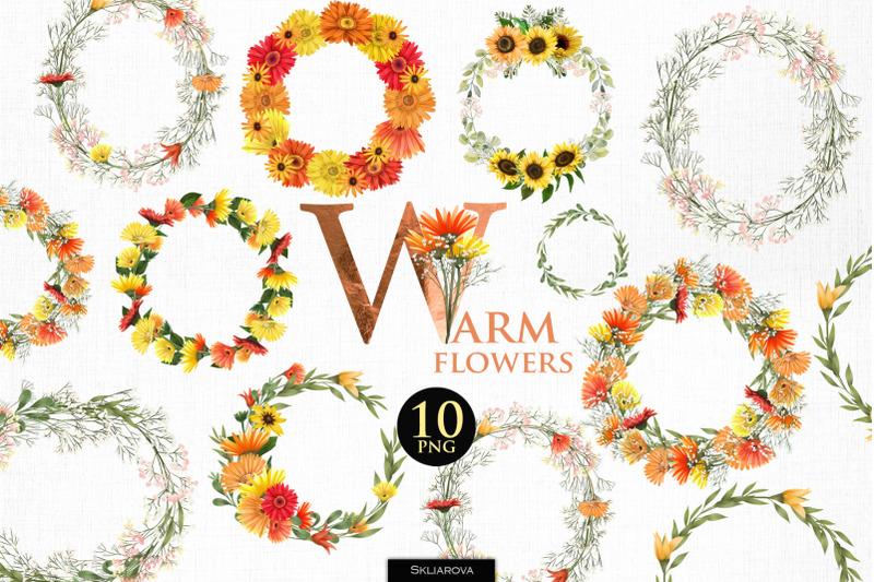 warm-flowers-wreaths-set