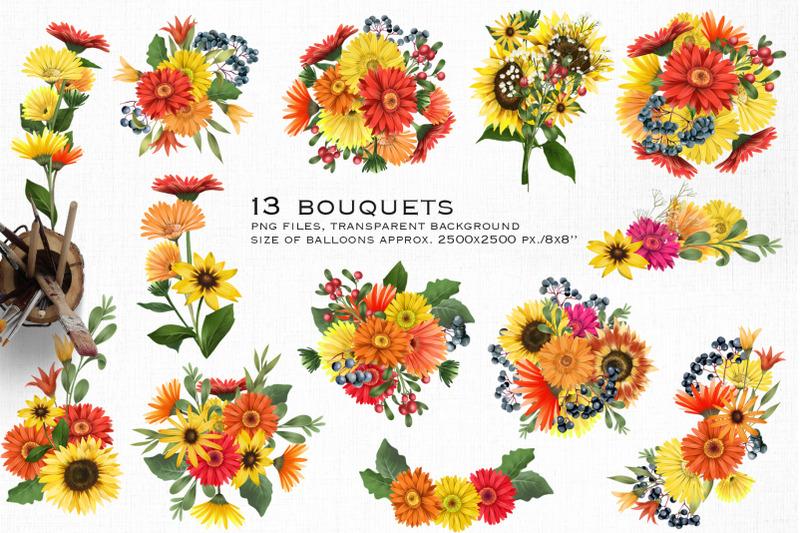 warm-flowers-bouquets-clipart-part-2