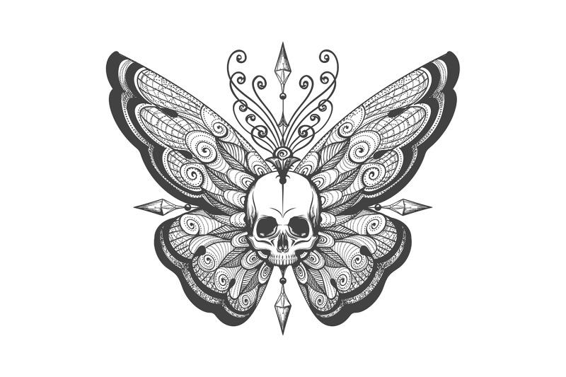 hand-drawn-skull-butterfly-tattoo