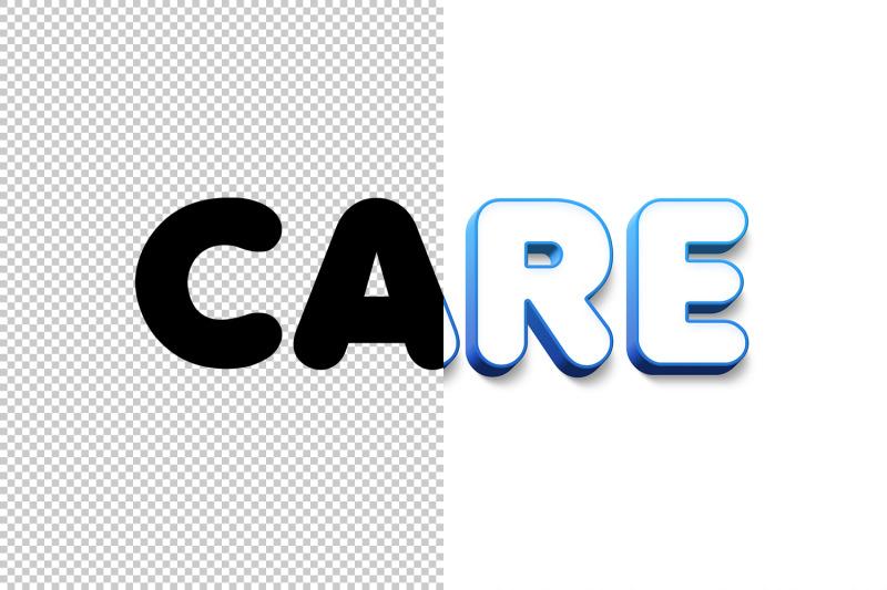care-3d-text-effect-psd