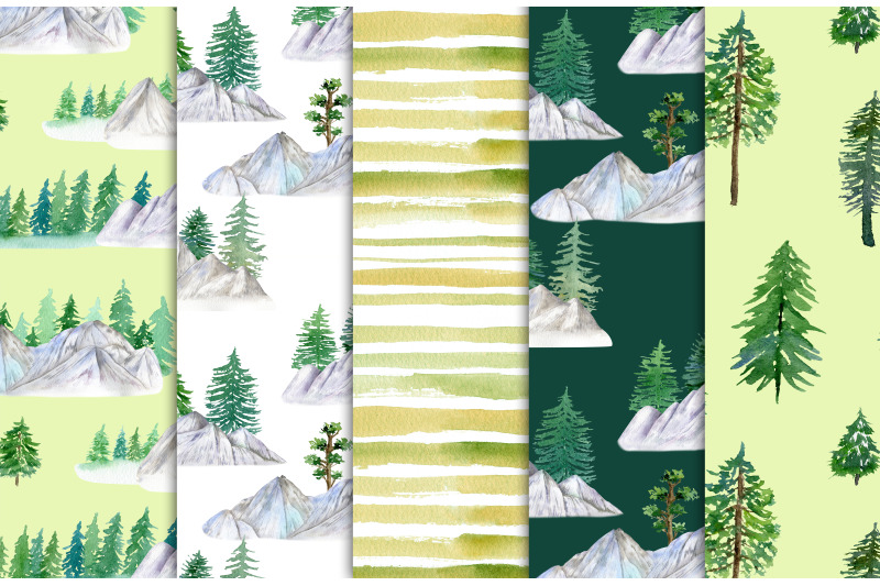 mountains-watercolor-digital-paper-forest-seamless-pattern