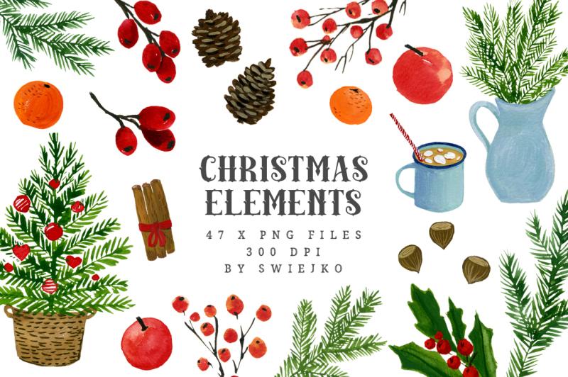 watercolor-christmas-elements