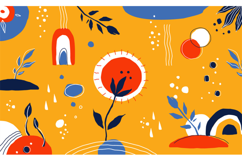 doodle-abstract-background-hand-drawn-plants-drops-and-lines-round