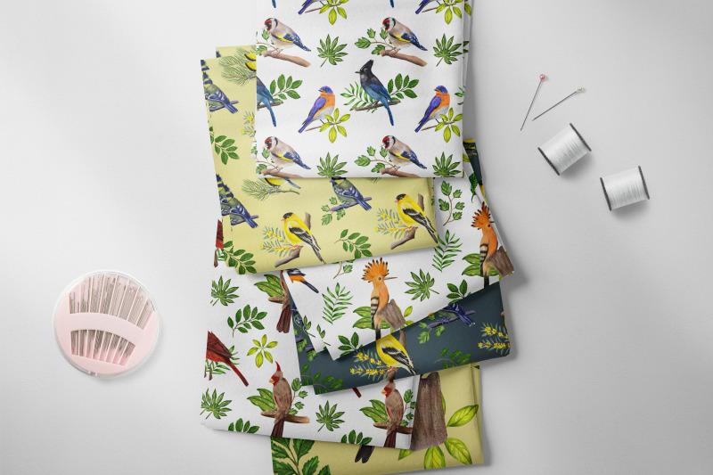 birds-watercolor-digital-paper-bright-tiny-birds-seamless-pattern
