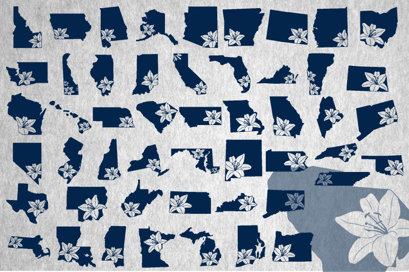 usa-states-with-lily-silhouette-cut-files